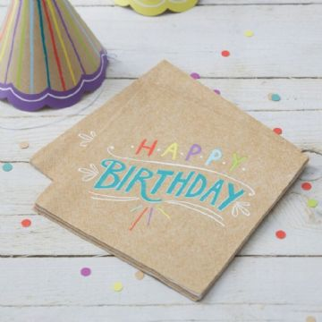 "Kraft Party - ""Happy Birthday"" Paper Napkins - pack of 20"